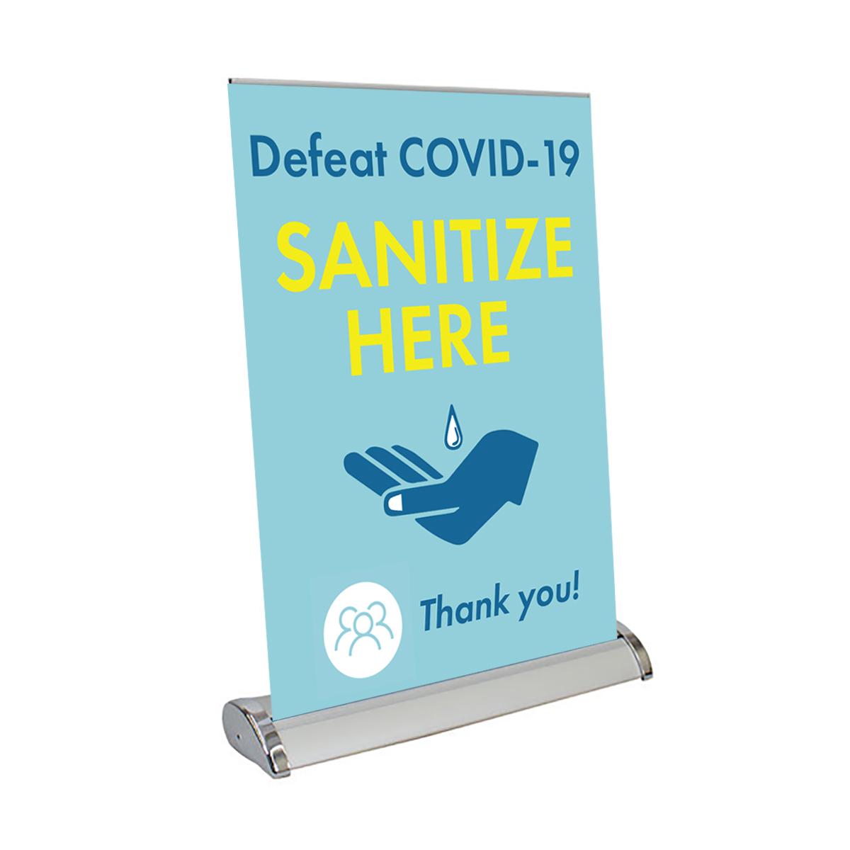 "Defeat COVID-19 - 13"" x 17"" Table Top Mini Retractable Banner"
