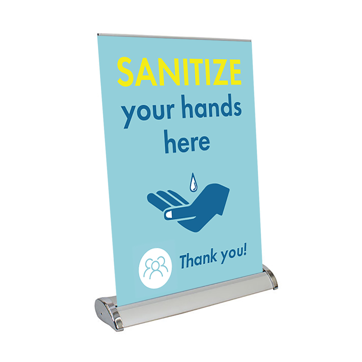 """Sanitize Your Hands Here - 13"""" x 17"""" Table Top Mini Retractable Banner"""