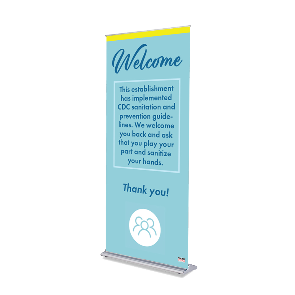 """Welcome - 36"""" x 80"""" Free-Standing Retractable Banner"""