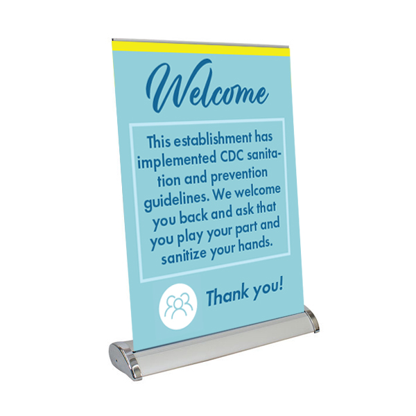 """Welcome - 13"""" x 17"""" Table Top Mini Retractable Banner"""